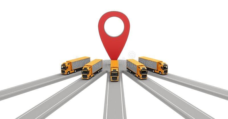 Grupp av lastbilar som parkerar på en destination stock illustrationer