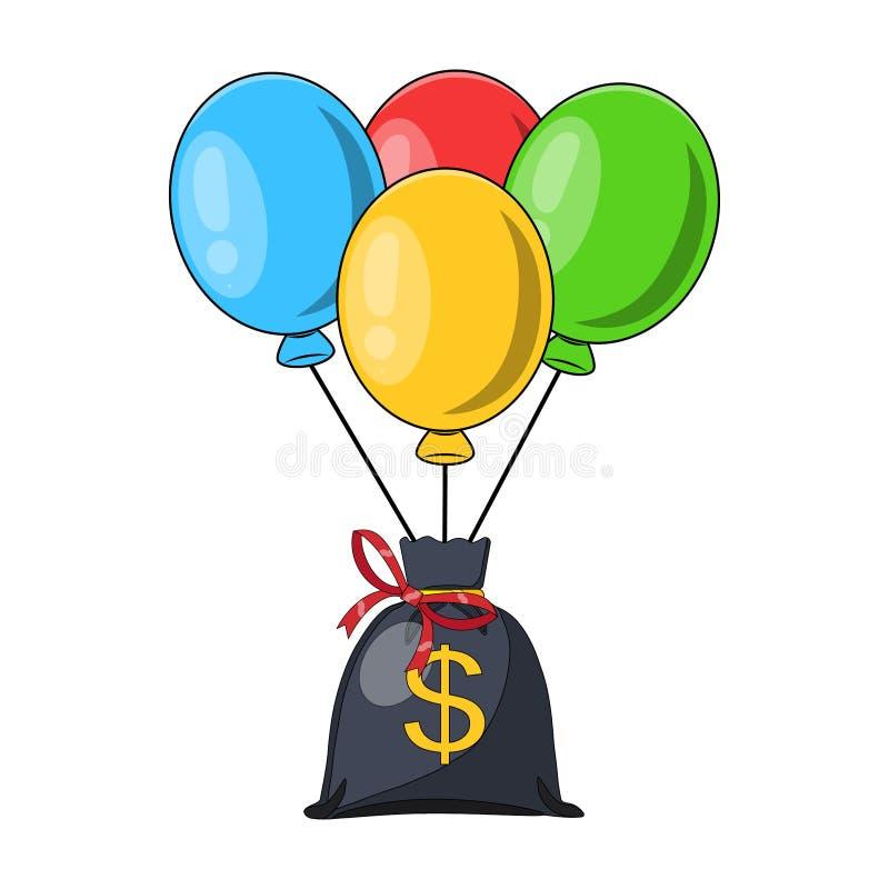 Grupp av luftballonger, grupp av bollen med bandet, pengarpåse med dollartecknet som isoleras på vit bakgrund färgrikt Affär, stock illustrationer