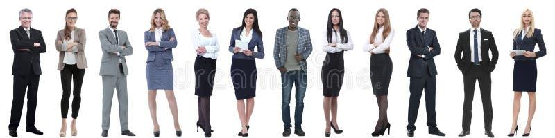 Grupp av lyckat aff?rsfolk som isoleras p? vit arkivfoto