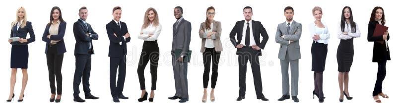 Grupp av lyckat aff?rsfolk som isoleras p? vit royaltyfri foto