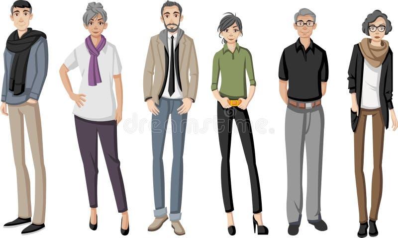 Grupp av lycklig tecknad filmgamla människor royaltyfri illustrationer