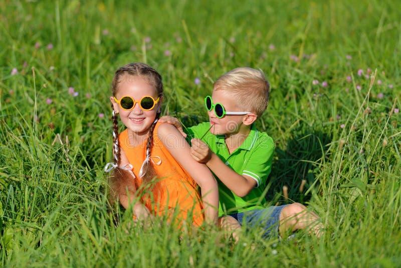 Grupp av lyckliga barn i solexponeringsglas som har gyckel i gräs utomhus arkivbilder
