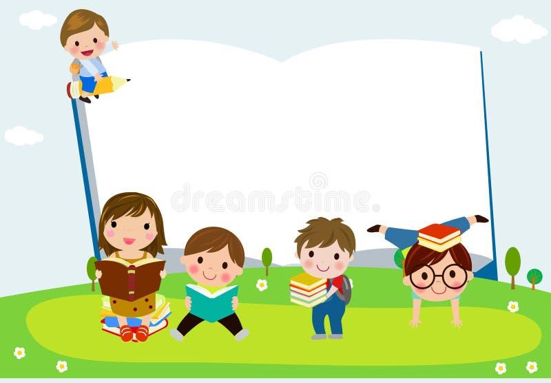 Grupp av lyckliga barn med böcker vektor illustrationer
