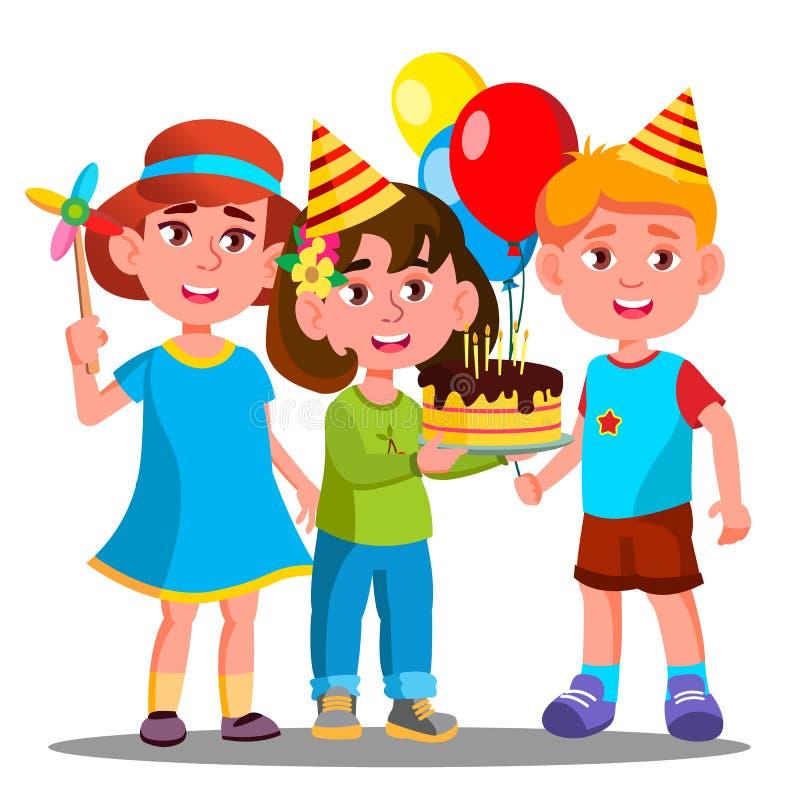 Grupp av lyckliga barn som tillsammans firar vektorn för födelsedag isolerad knapphandillustration skjuta s-startkvinnan vektor illustrationer
