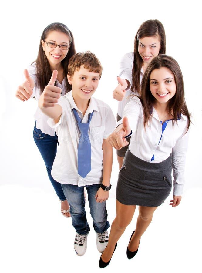 Grupp av lyckliga deltagare fotografering för bildbyråer