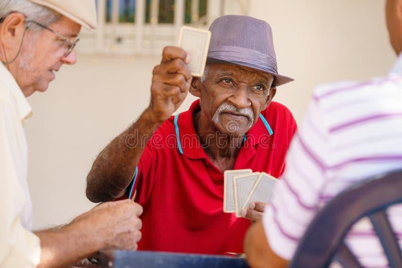 Grupp av lyckliga höga vänner som spelar kort och att skratta arkivfoto