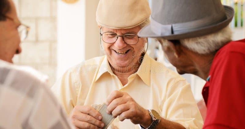 Grupp av lyckliga pensionärer som spelar kortleken royaltyfria foton