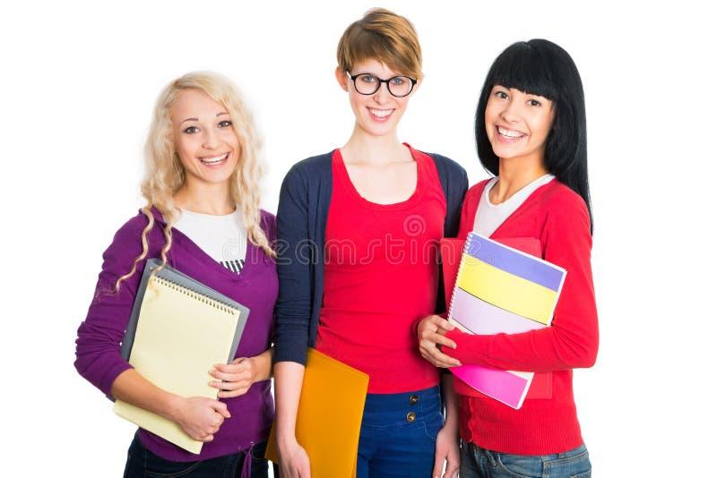 Grupp av lyckliga studenter royaltyfria foton