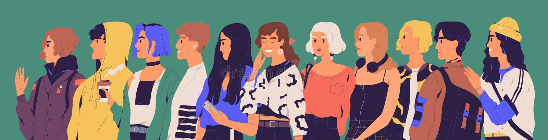 Grupp av lyckliga tonåringar, studenter, elever eller millennials Stående av stilfullt le tonårs- stå för pojkar och för flickor royaltyfri illustrationer