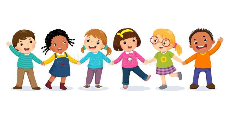 Grupp av lyckliga ungar som rymmer händer stående två för pelikan för kamratskap för bakgrundsbegrepp våt mörk stock illustrationer