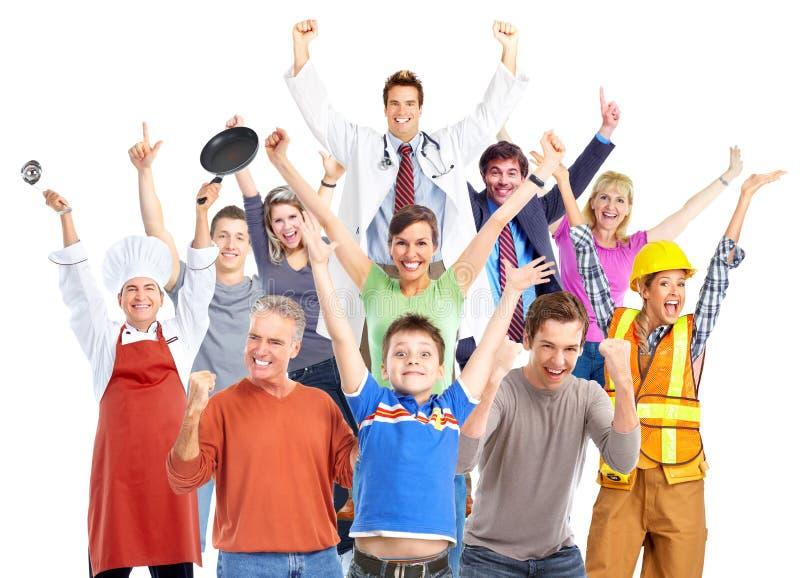 Grupp av lyckligt arbetarfolk arkivbilder