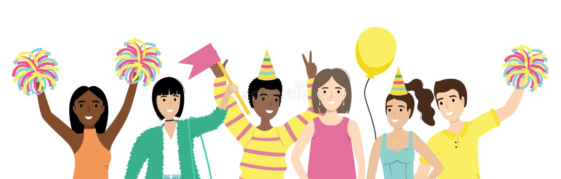 Grupp av lyckligt folk med vinkande händer som isoleras på vit bakgrund Lyckliga positiva män och kvinnor som firar ferie ventila royaltyfri illustrationer