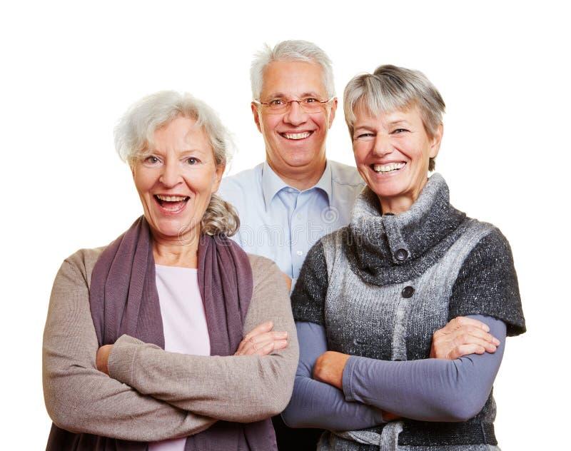 Grupp av lyckligt högt folk royaltyfri foto