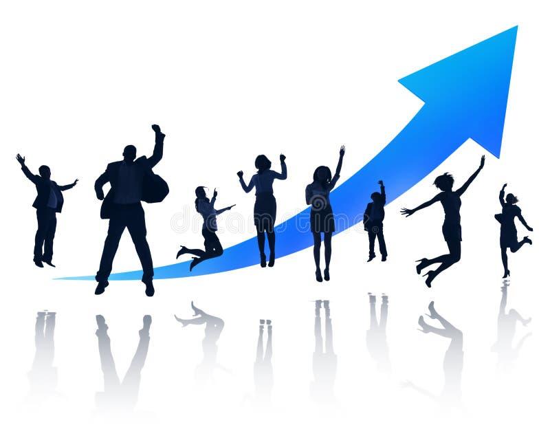 Grupp av lyckligt hoppa för affärsfolk vektor illustrationer