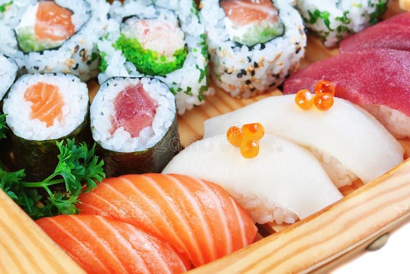 Grupp av lyxiga matar, sushi. royaltyfria bilder