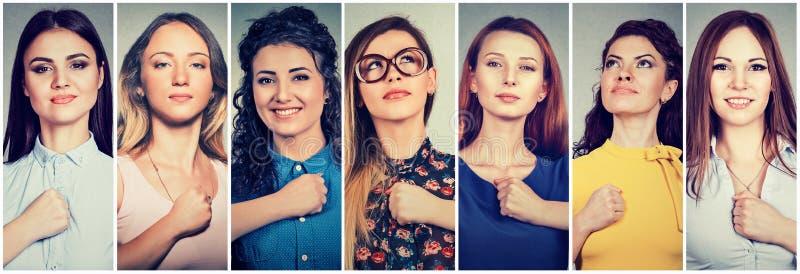 Grupp av mångkulturella säkra kvinnor som är beslutsamma för en ändring arkivbild