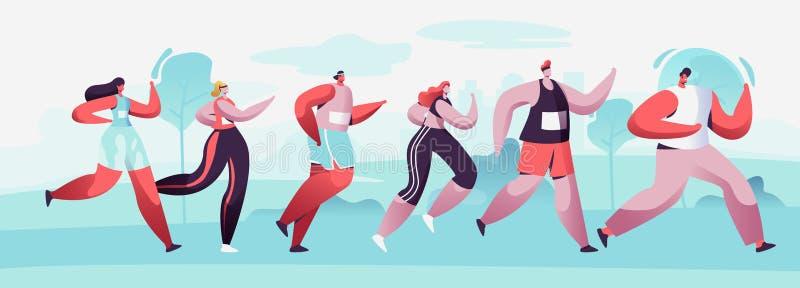 Grupp av man och kvinnliga tecken som k?r maratonavst?nd i r?tt Sport som joggar konkurrens Idrottsman nen Sprinter Sportsmen royaltyfri illustrationer