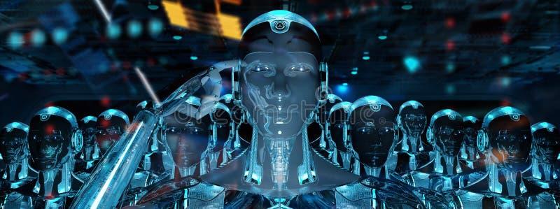 Grupp av manliga robotar som följer tolkningen för ledarecyborgarmé 3d stock illustrationer