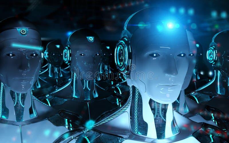 Grupp av manliga robotar som f?ljer tolkningen f?r ledarecyborgarm? 3d vektor illustrationer