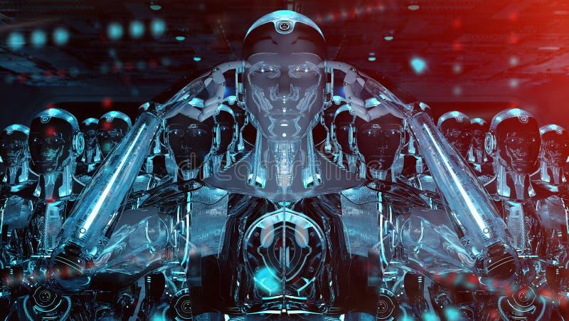 Grupp av manliga robotar som f?ljer tolkningen f?r ledarecyborgarm? 3d stock illustrationer