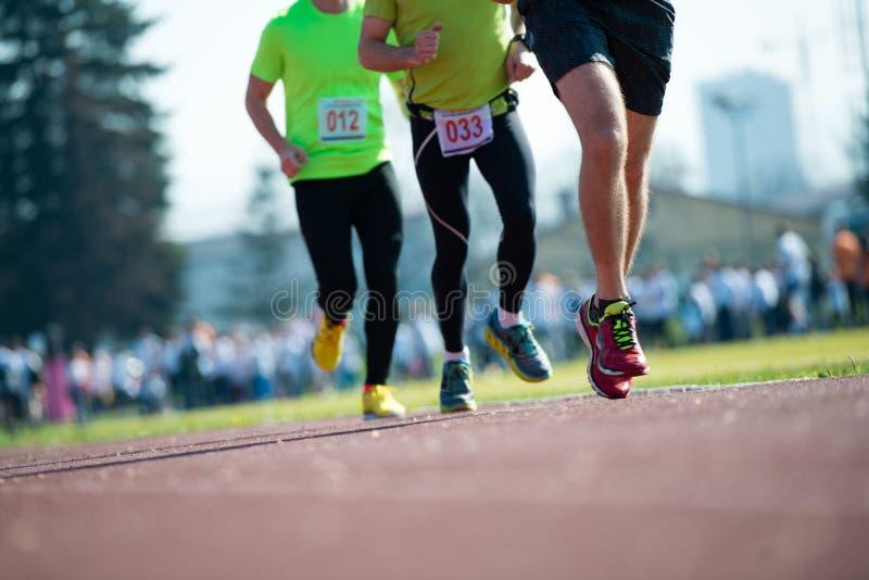 Grupp av maratonracerbilrunningon spåret arkivbilder