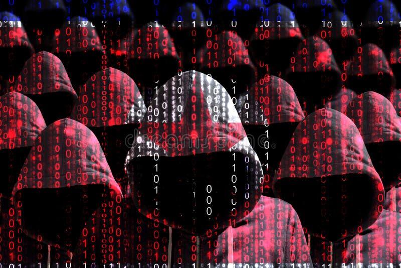Grupp av med huva en hacker som skiner till och med en digital nordkorean f royaltyfri bild