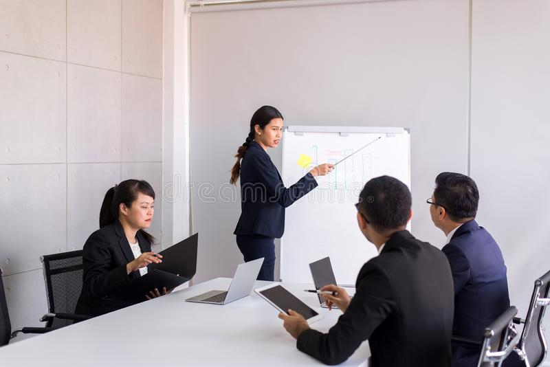 Grupp av meddela för folk för affär asiatiskt mötande och arbetande, medan sitta på rumkontorsskrivbordet tillsammans, teamworkbe royaltyfria bilder