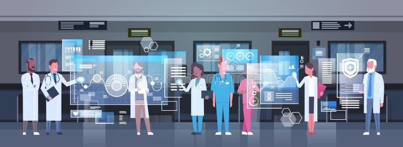 Grupp av medicinska doktorer som använder den Digital bildskärmen som arbetar i sjukhusmedicin och modernt teknologibegrepp royaltyfri illustrationer