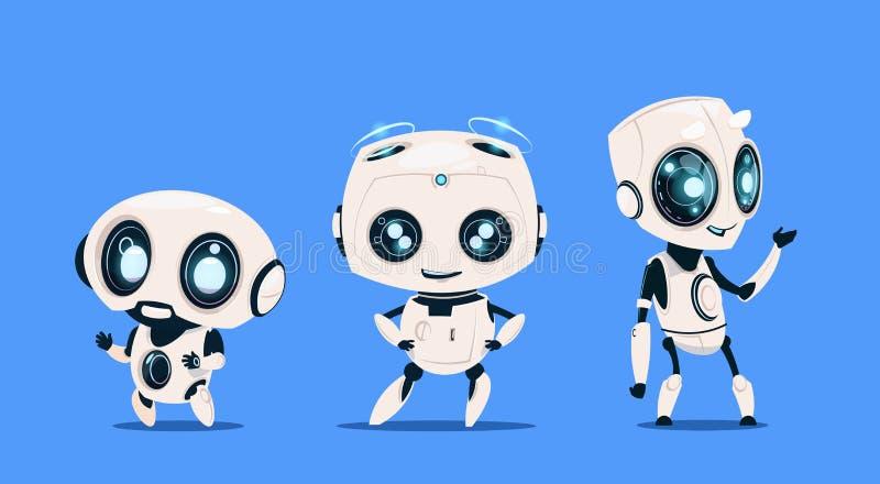 Grupp av moderna robotar som isoleras på för tecknad filmtecken för blå bakgrund gulligt begrepp för konstgjord intelligens vektor illustrationer