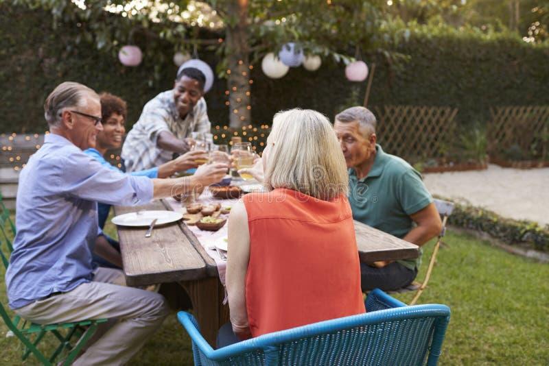 Grupp av mogna vänner som tycker om utomhus- mål i trädgård arkivbilder