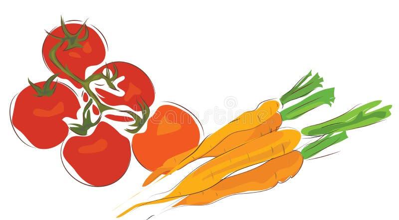 Grupp av morötter och tomater royaltyfri illustrationer