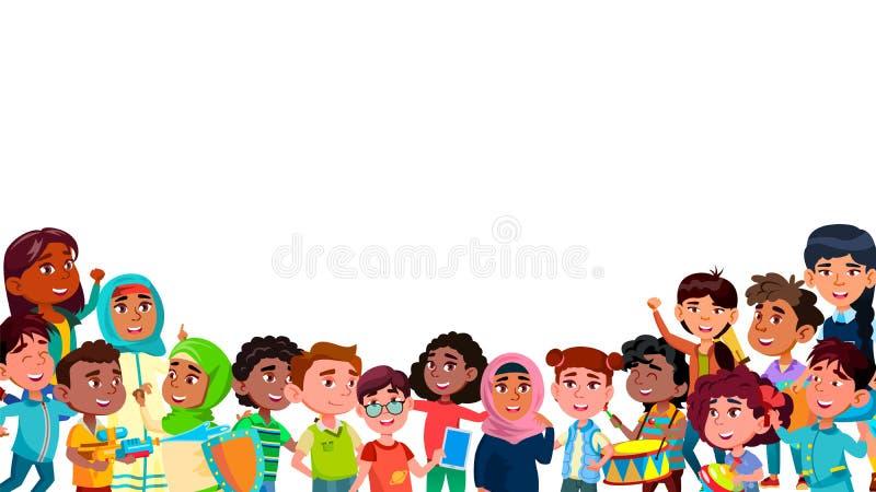 Grupp av Mulicultural som ler barnvektorn royaltyfri illustrationer