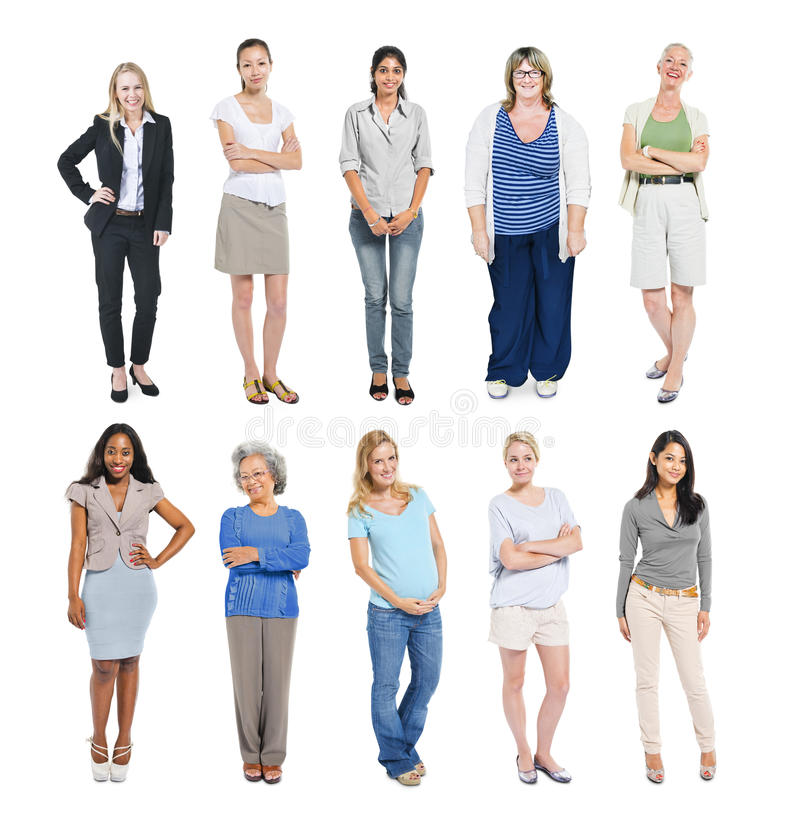 Grupp av multietniska olika oberoende kvinnor royaltyfri bild