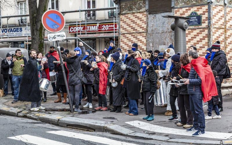 Grupp av Musicants - Carnaval de Paris 2018 arkivfoto