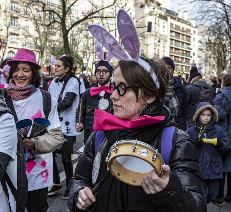 Grupp av Musicants - Carnaval de Paris 2018 arkivbild