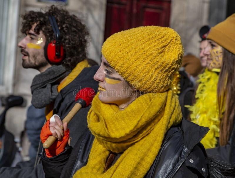 Grupp av Musicants - Carnaval de Paris 2018 arkivbilder