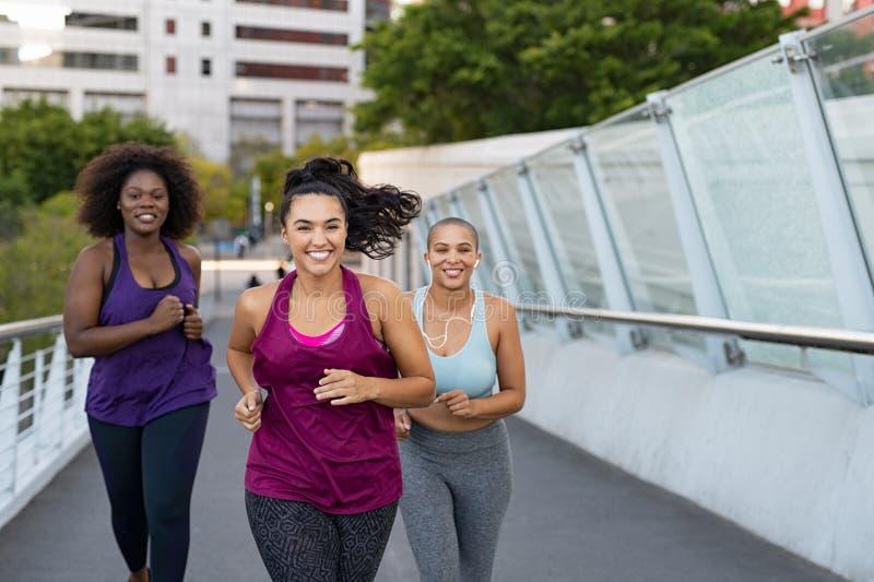 Grupp av naturligt jogga för kvinnor arkivbild