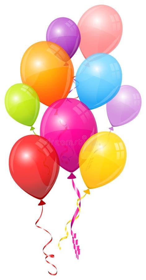 Grupp av nio färgrika ballonger som matchar radflyg vektor illustrationer