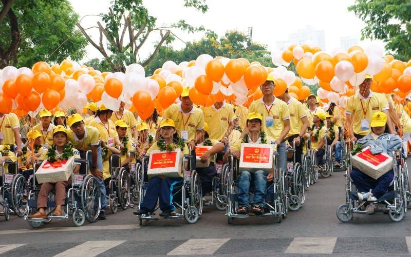 Grupp av ogiltigt folk på rullstolen fotografering för bildbyråer