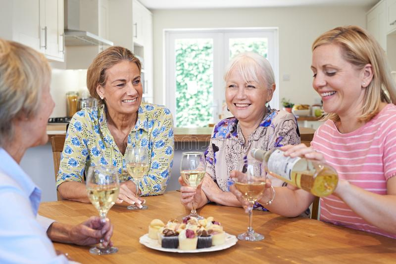 Grupp av olika åldriga kvinnliga vänner som hemma kopplar av, och Drin royaltyfri fotografi