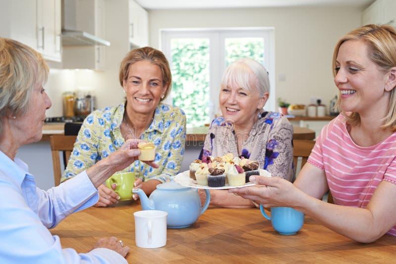 Grupp av olika åldriga kvinnliga vänner som hemma möter royaltyfri fotografi