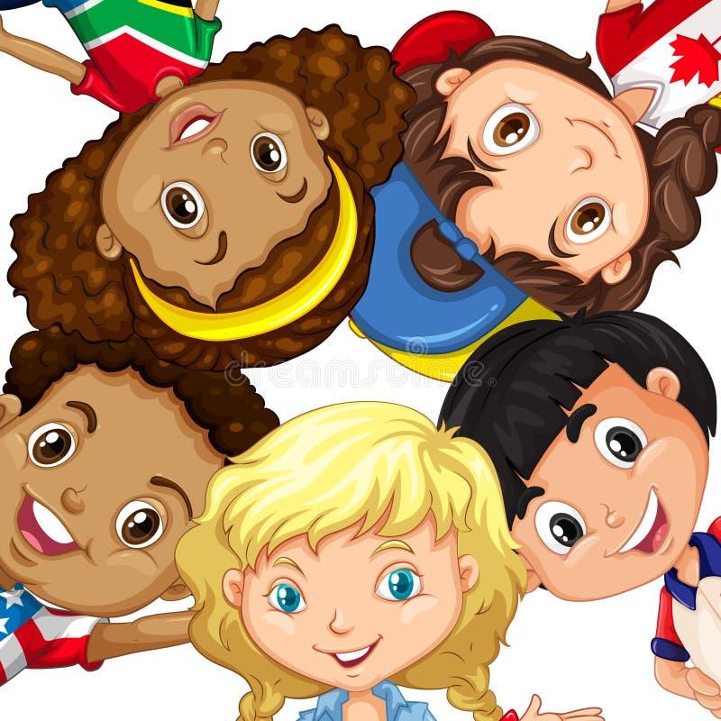 Grupp av olika barn stock illustrationer