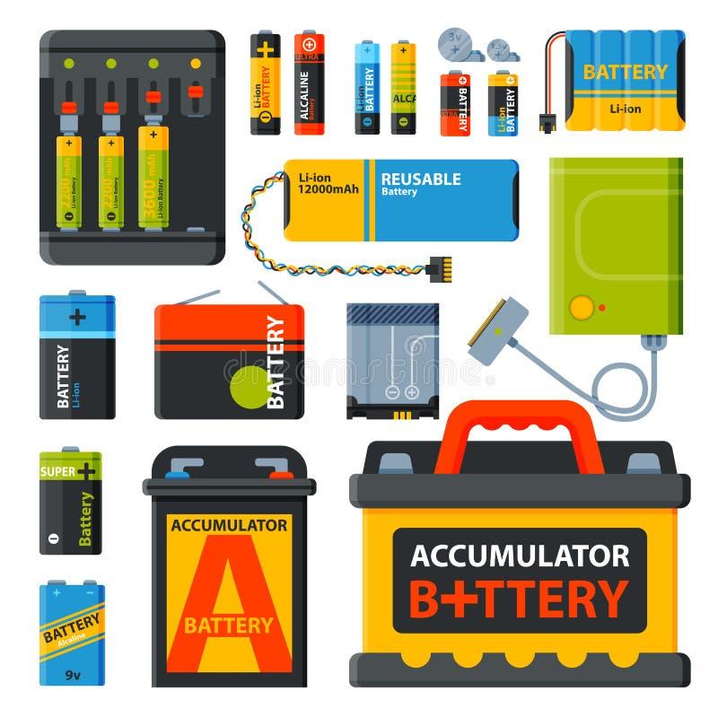 Grupp av olika batterivektorsymboler stock illustrationer