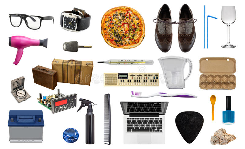 Grupp av olika objekt som isoleras på viten royaltyfria foton