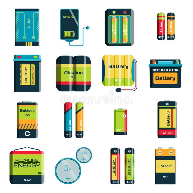 Grupp av olika symboler för vektor för teknologi för laddning för elektricitet för formatfärgbatterier vektor illustrationer
