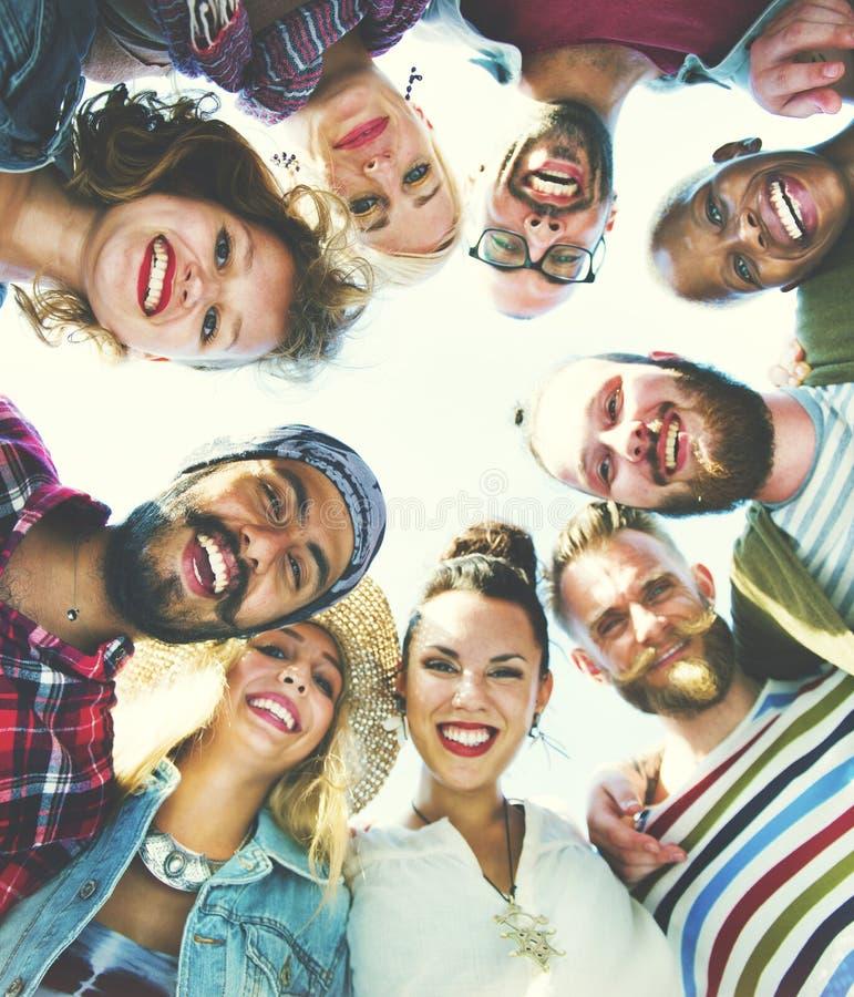Grupp av olika vänner royaltyfri foto