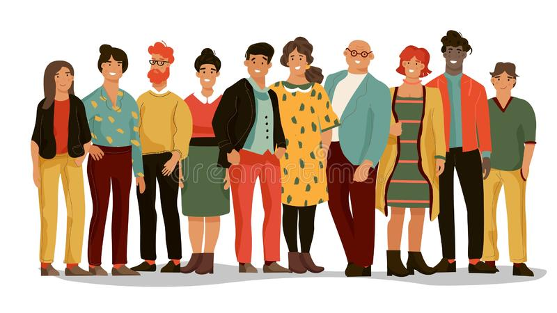 Grupp av olikt folk Lag för kontorsanställd av unga lyckliga män och kvinnor, tecknad filmstående av arbetare Vektorman royaltyfri illustrationer