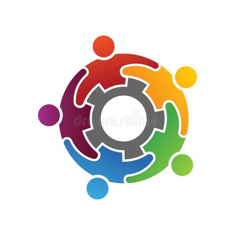 Grupp av olikt folk som tillsammans arbetar Logo Concept stock illustrationer
