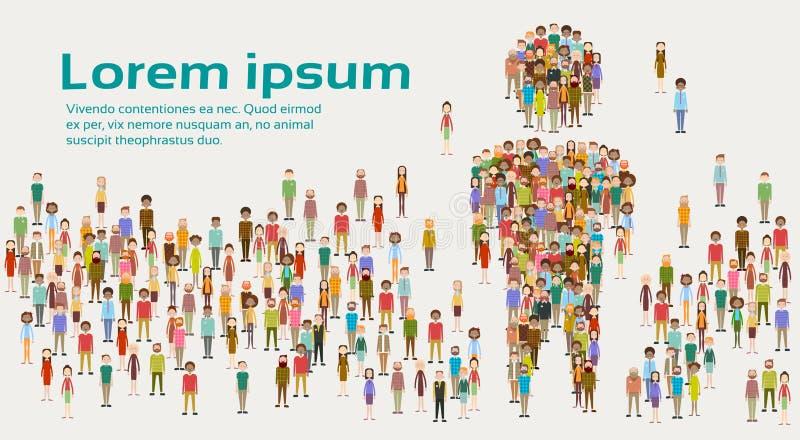 Grupp av person som tillhör en etnisk minoritet för blandning för Businesspeople för folkmassa för affärsfolk olik stor royaltyfri illustrationer