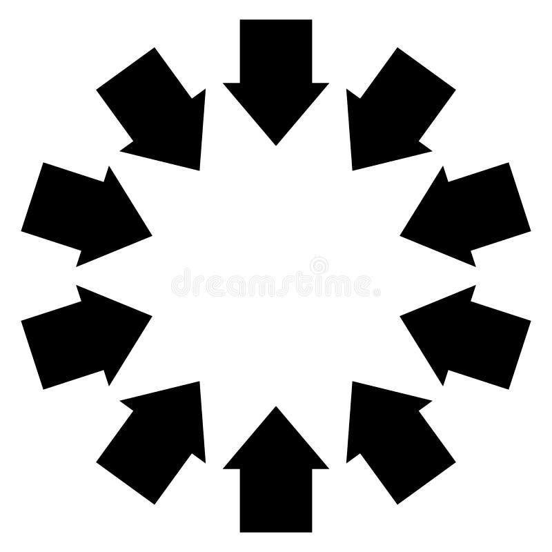 Grupp av pilar som följer en cirkel som inwards pekar vektor illustrationer